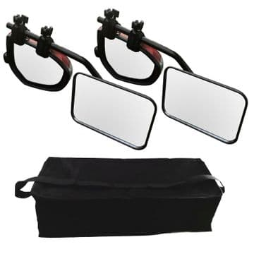 2  x CARAVAN SWIVEL TOWING WING MIRRORS with STORAGE BAG flat glass trailer
